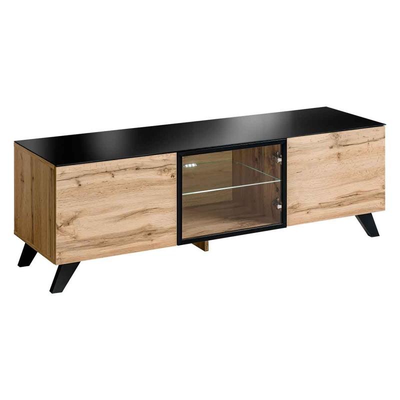 meuble tv design led thin 150cm noir naturel