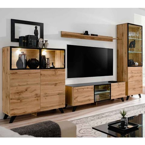 ensemble meuble tv bibliotheque thin 340cm noir naturel