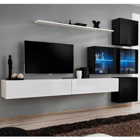 meuble tv mural design switch xix 310cm blanc noir