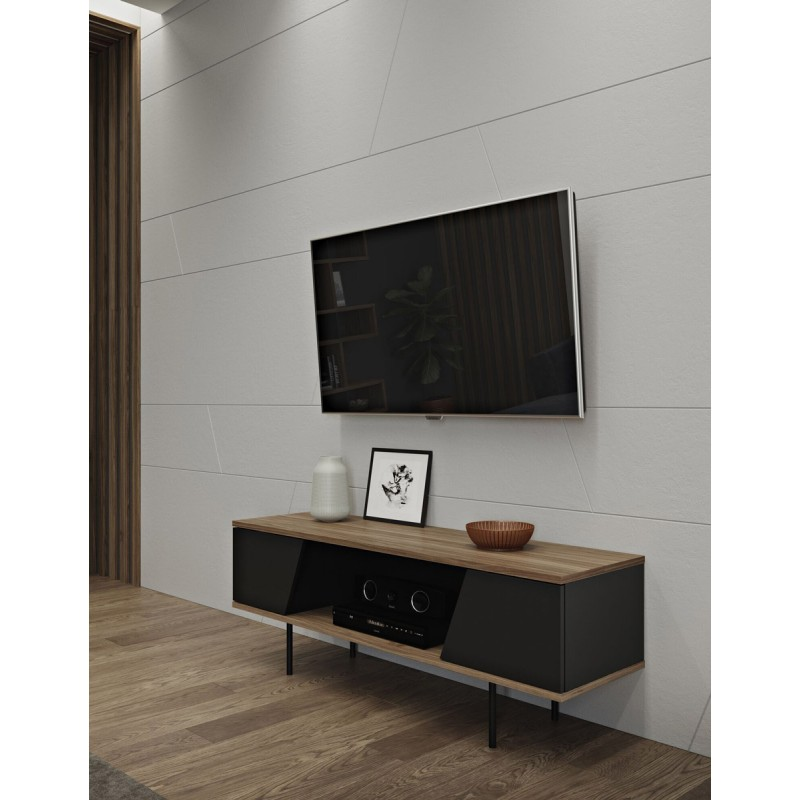 temahome meuble tv design dixie 140cm noir noyer