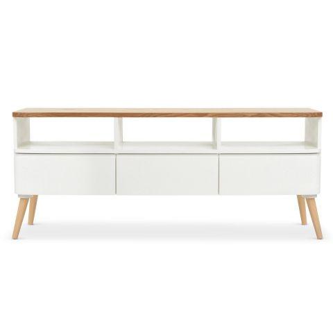 meuble tv scandinave arvika 120cm blanc