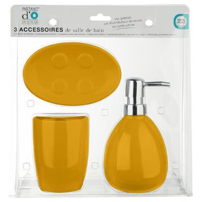 set de 3 accessoires salle de bain sun jaune