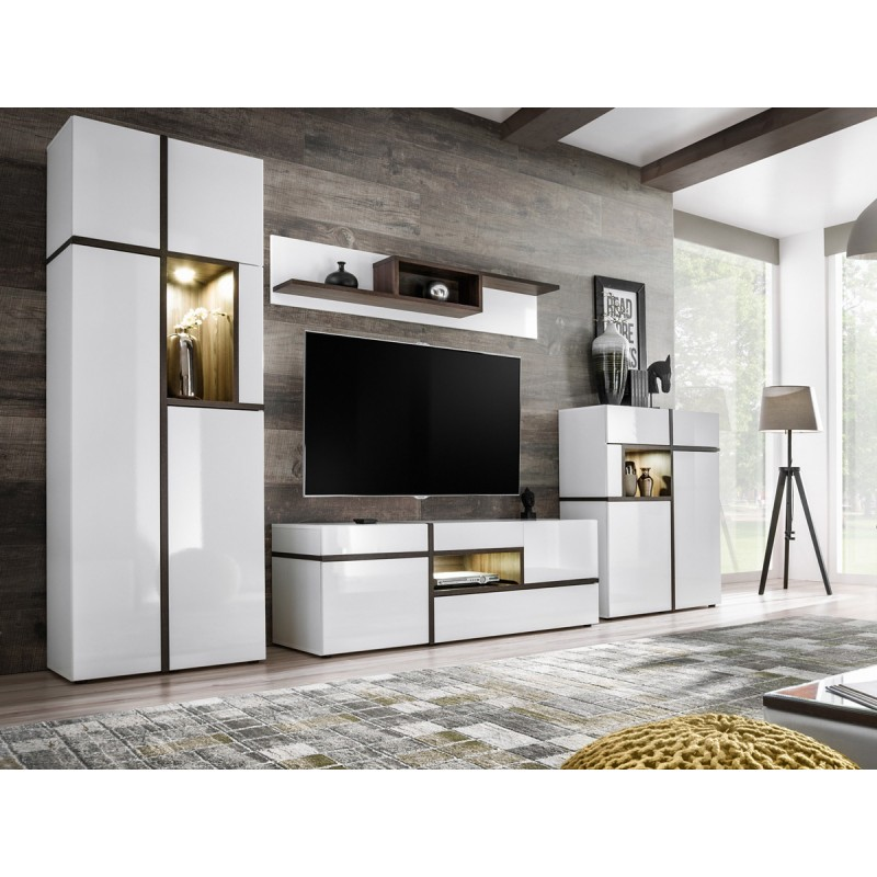 meuble tv design cross 330cm blanc