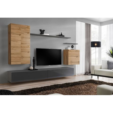 meuble tv mural design switch ii 270cm naturel gris