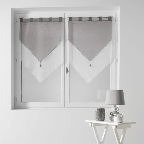 paire de voilages duo 60x90cm blanc gris