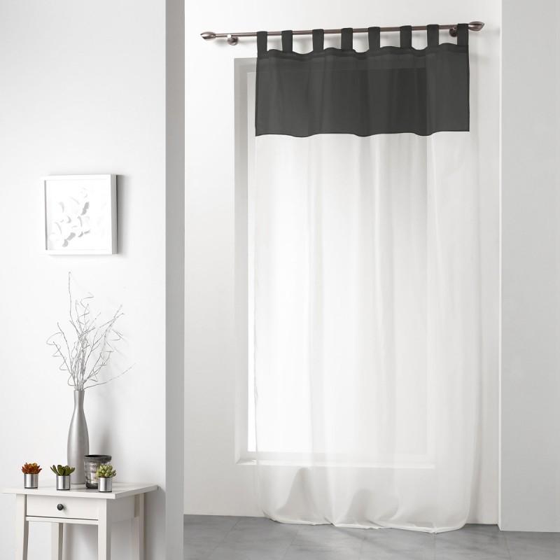 rideau voilage duo 140x240cm blanc noir