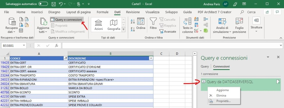 Query SQL variabile in un foglio Excel