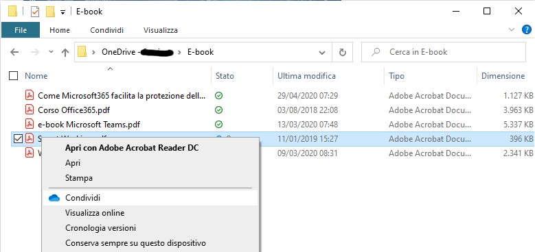 OneDrive Condividere file e cartelle