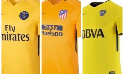 Les maillots de l'Atlético de Madrid et de Boca Juniors sont aussi très proches du jaune du PSG