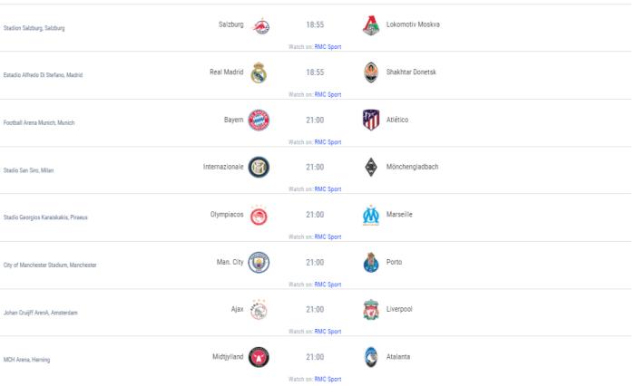 Ligue des Champions - Le programme complet des matchs de la 1ere journée de la phase de groupes