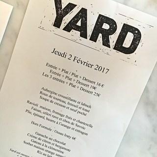 YARD restaurant Paris menu