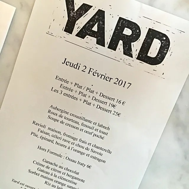 YARD restaurant Paris menu
