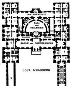 Détail d'un plan extrait de  Le Palais du Luxembourg de Arthur Hustin   éd. Mouillot (1904), représentant le palais après les travaux de 1837