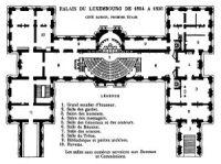 Détail d'un plan extrait de  Le Palais du Luxembourg de Arthur Hustin   éd. Mouillot (1904), représentant le palais avant les travaux de 1837