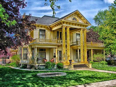 gold color 2 storey house