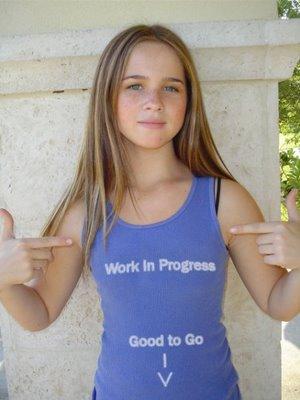 girl wearing Work In Progress, Good to Go tank top