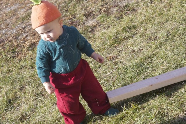 baby dressed for fall with plank of wood
