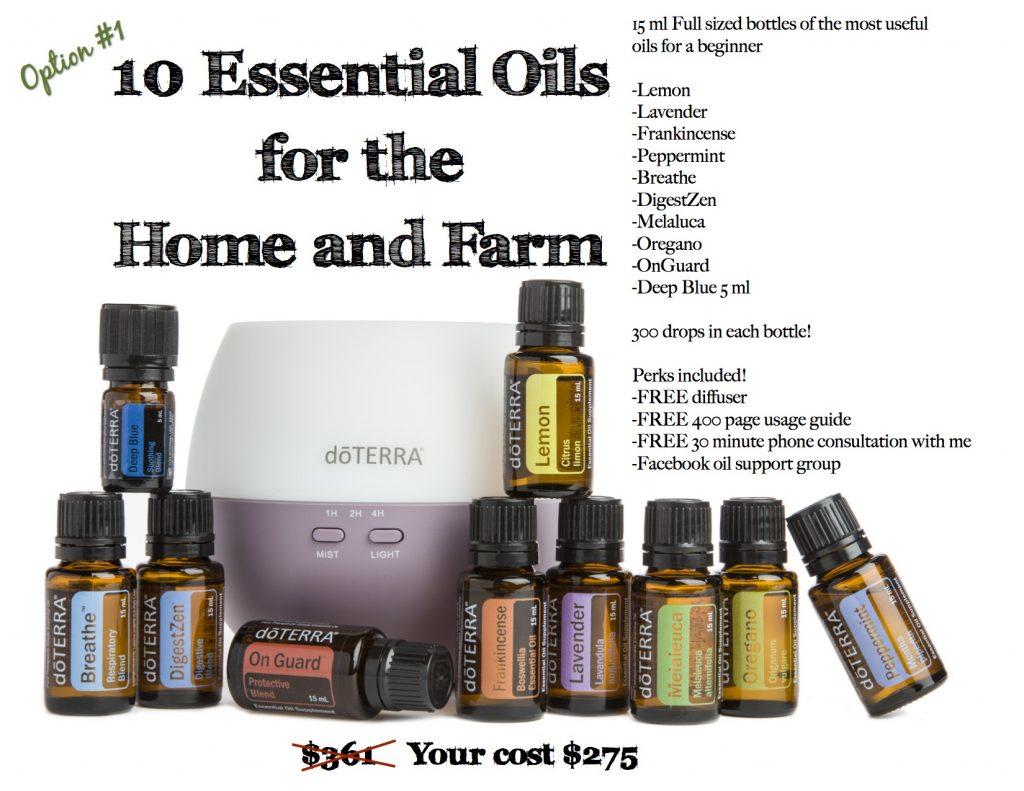 10 Essential Oils for the Home and Farm: Lemon, Lavender, Frankincense, Peppermint, Breathe, DigestZen, Melaluca, Oregano, OnGuard, DeepBlue