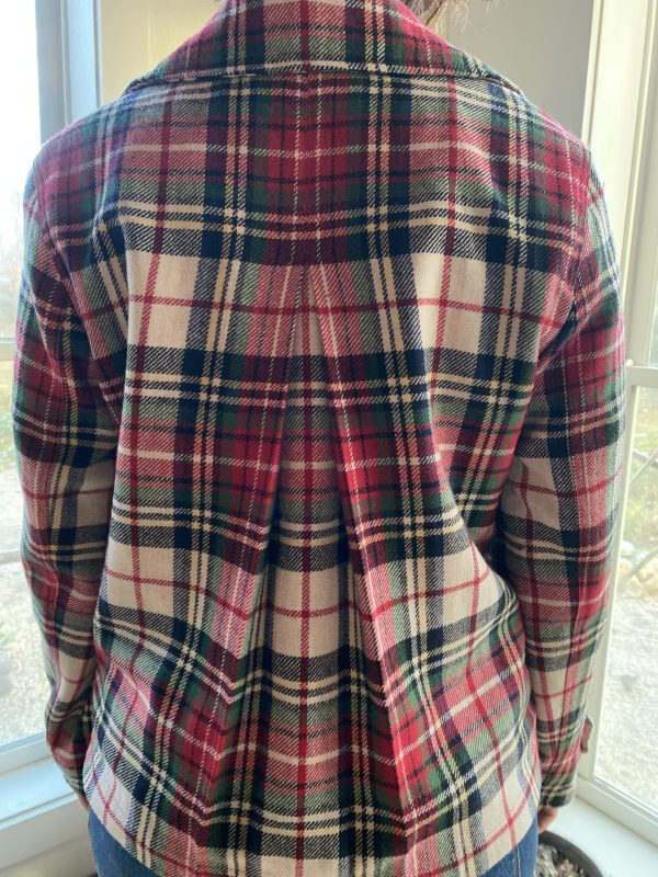 Plaid Jacket with Vintage Pin