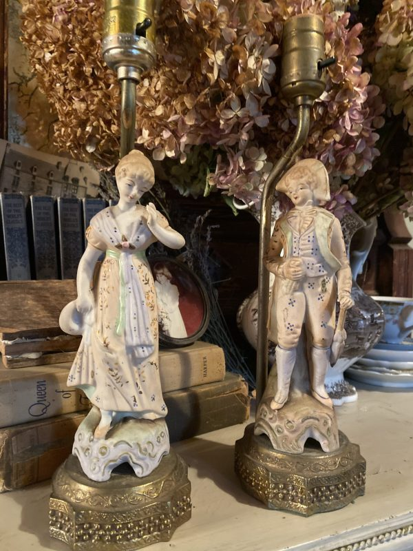 19th Century style male and female lamps