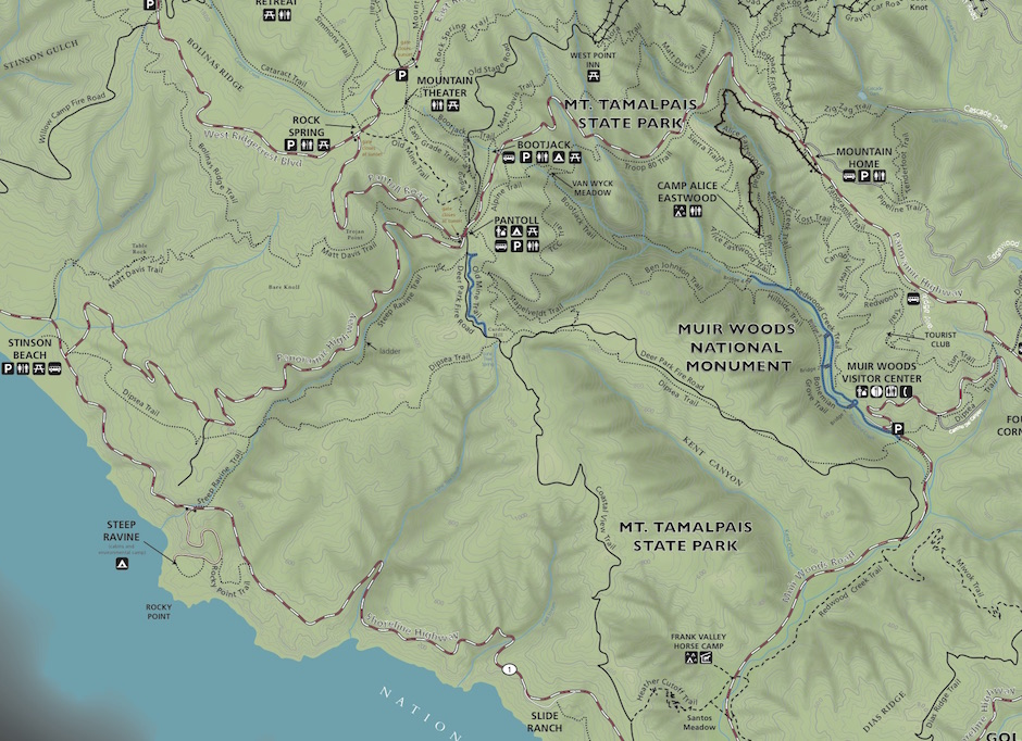 Muir Woods Hiking Map - from - http://www.nps.gov/muwo/planyourvisit/trails-in-muir-woods-and-vicinity.htm