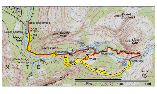 Vernal Falls and Nevada Falls Hiking Map - from nps.gov - Download the full map at : https://www.nps.gov/yose/planyourvisit/upload/halfdome.pdf