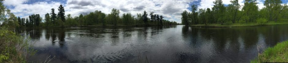 Panoramic view of the confluence of the Kettle River and the St. Croix River