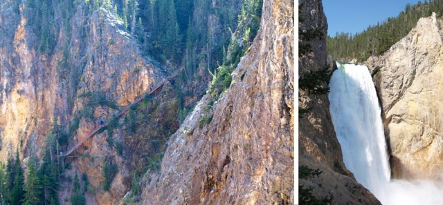 View of the steps of Uncle Tom's Trail from the North Rim & Lower Yellowstone Falls