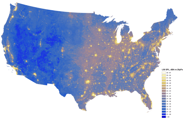 Sound Map of existing sounds conditions in the United States - provided by NPS.gov and available on http://www.nature.nps.gov/sound/soundmap.cfm