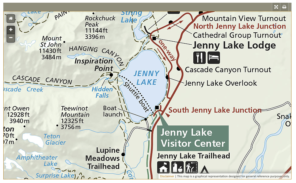 Grand Teton National Park: Inspiration Point - map provided by NPS.gov