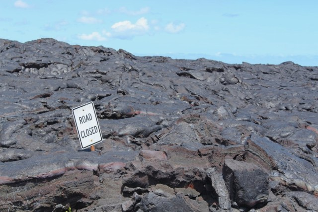 Road Sign in Hardened Lava - along Chain of Craters Road