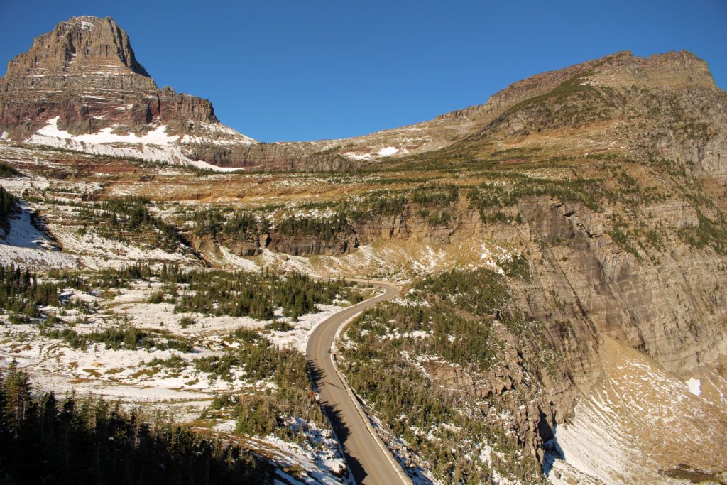 The Going-to-the-Sun Road as seen from the Highline Trail at Logan Pass