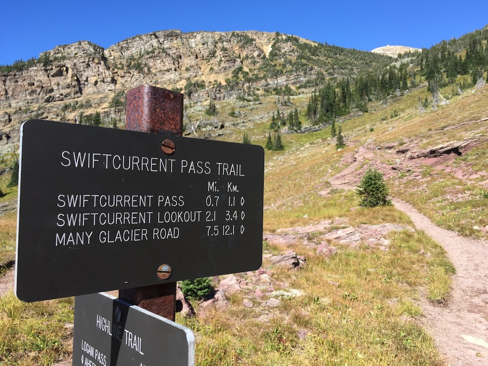 The Swiftcurrent Trailhead at Granite Park Chalet