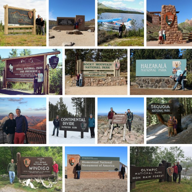 Park Chasers in front of different National Park Signs