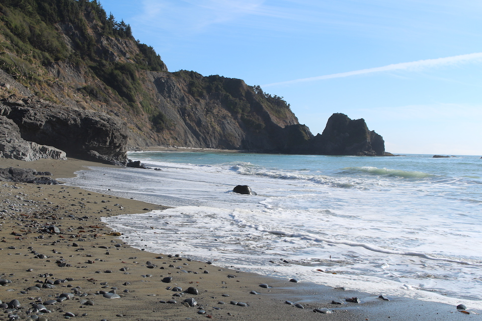 Rocky coastline of Redwoods National Park
