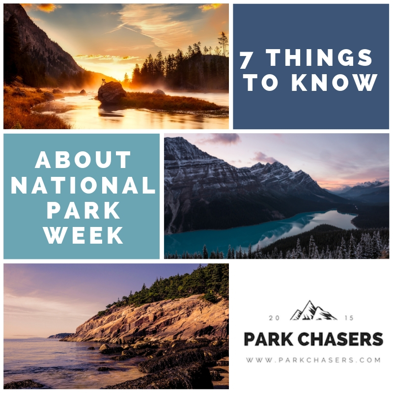 7 Things to Know About National park Week Logo - with photos of Yellowstone Glacier and Acadia National parks