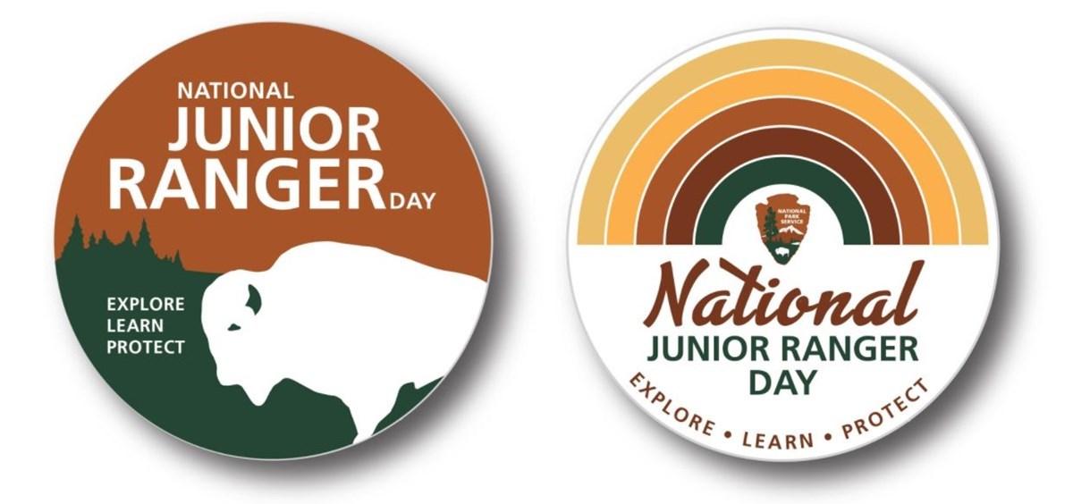 Logos for National Junior Ranger Day, part of National Parks Week