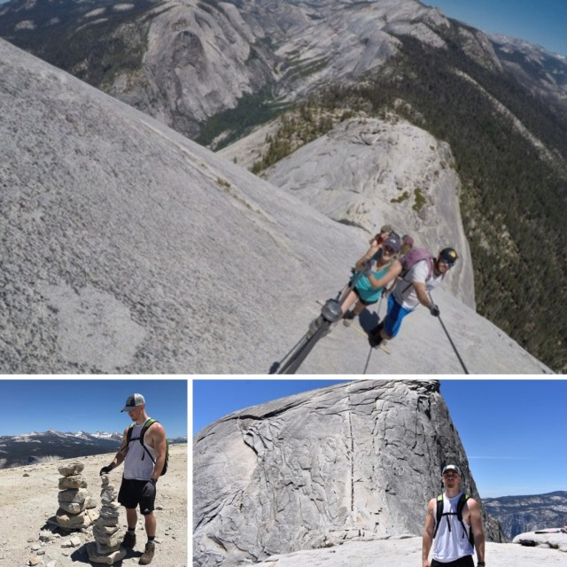 Hikers climbing Half Dome in Yosemite National Park