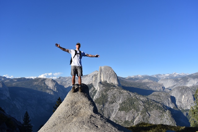 Wes, Male hiker with view of Half Dome, Yosemite National Park