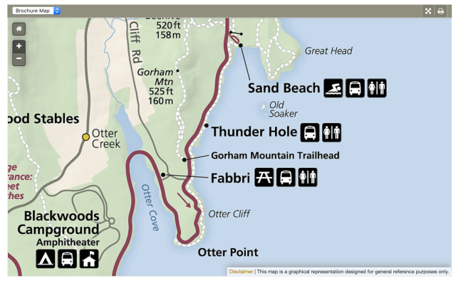 Map of The Ocean Path in Acadia National Park