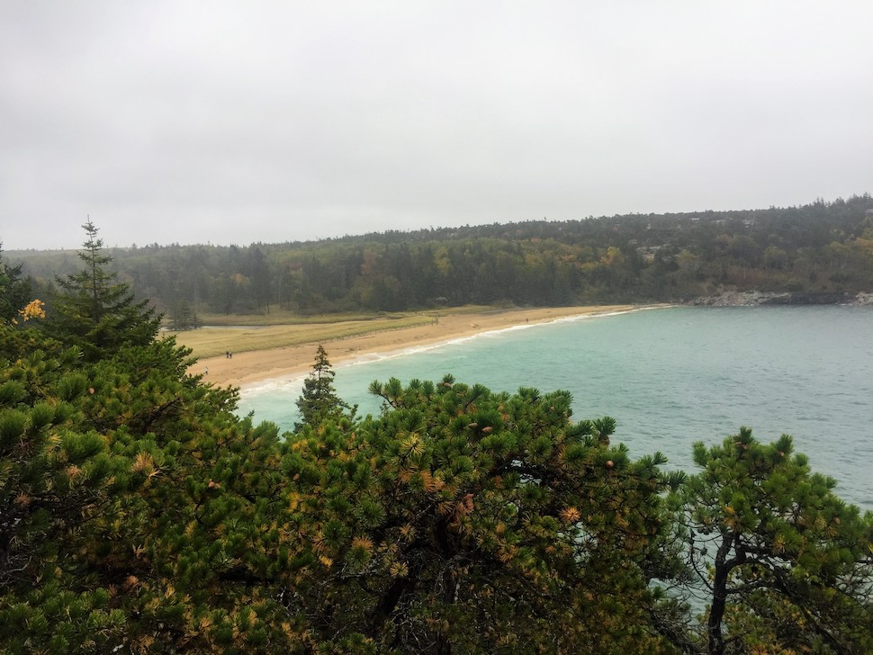View of Sand Beach in Acadia from the Ocean Path