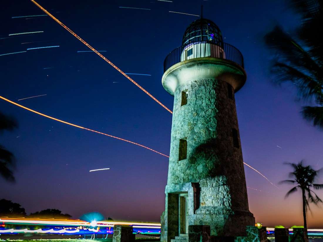 Lighthouse at night in Biscayne National Park
