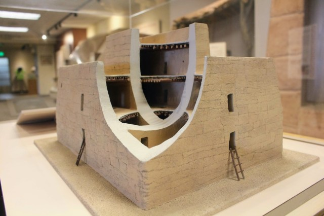 View of a replica model showing the inside of Casa Grande Ruins National Monument