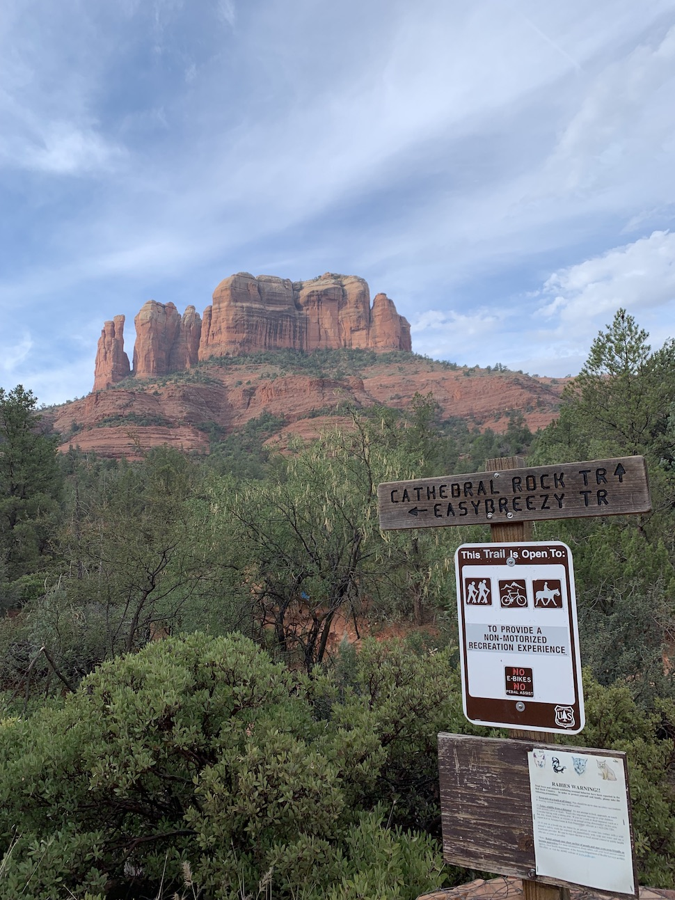 Catheral Rocks Trailhead Sign in Sedona Arizona