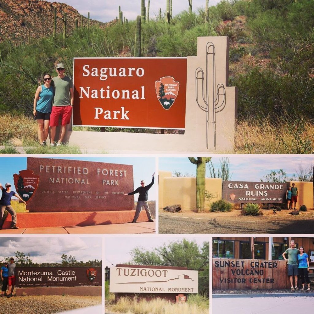 Collage of a Couple Posing with various National Park Signs
