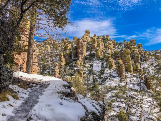 Hiking on a snow-covered trail in Chiricahua National Monument