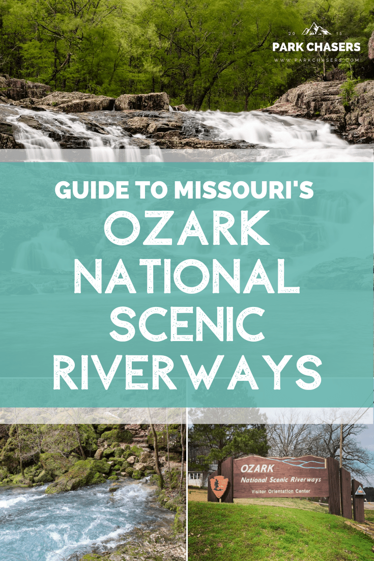 Guide to Ozark National Scenic Riverways collage with waterfall, big spring and park sign