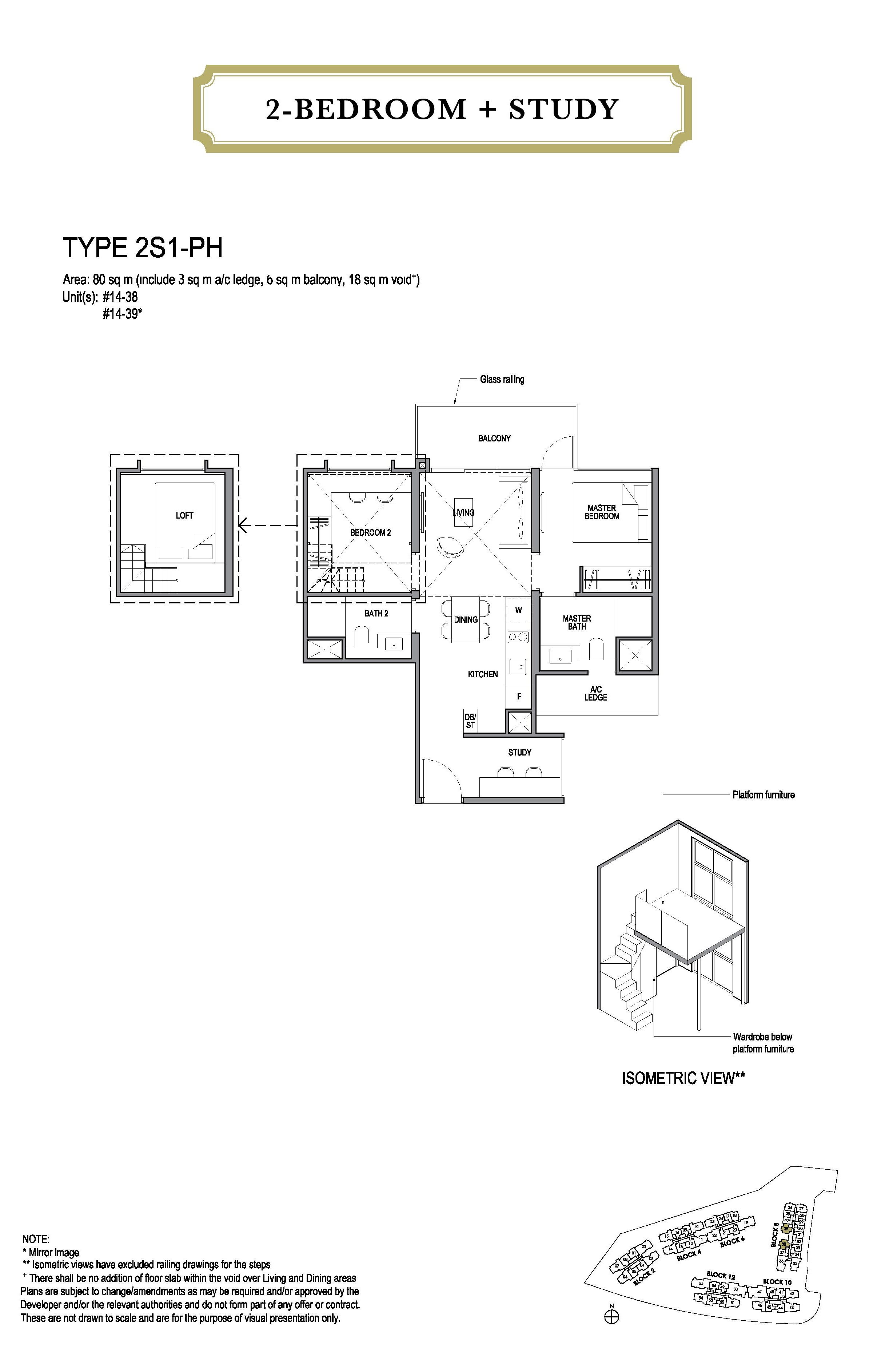 Park Colonial 2 Bedroom + Study Floor Plans Type 2S1-PH