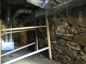 Stone foundation before repair