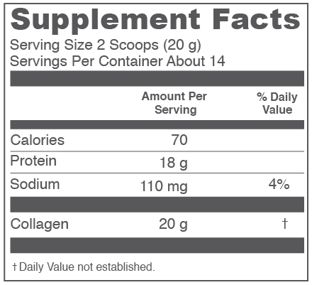 Vital Proteins Collagen Peptides Supplement Facts Box